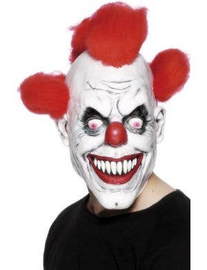 Horror Evil Clown Latex Mask With Red Hair Costume Accessory