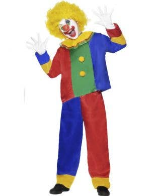Boy's Circus Clown Blue and Red Carnival Fancy Dress Front