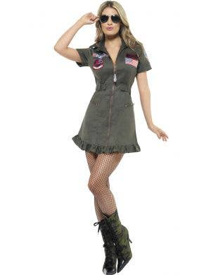 Sexy Top Gun Flight Suit Aviator Costume For Women Main Image