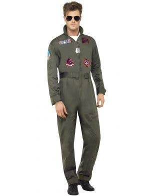 Deluxe Men's Maverick Top Gun Aviator Flight Suit Costume Image 1