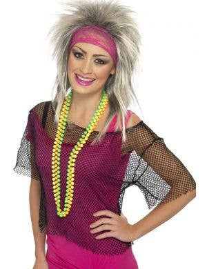 1980's Women's Fishnet Cropped Costume Top