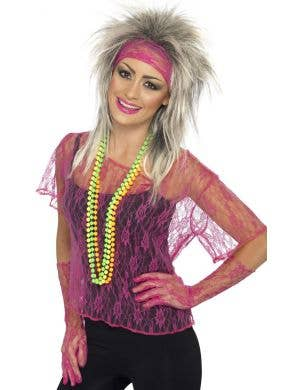 1980's Women's Hot Pink Lace Costume Accessory Set