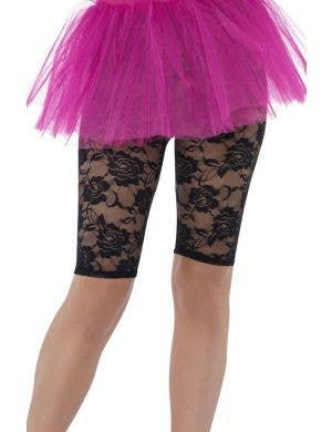 Women's Black Lace Short 80's Costume Accessory Side View