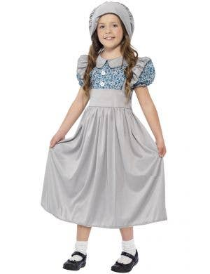 Grey Victorian Old Day's Kid's School Girl Fancy Dress Costume Front View