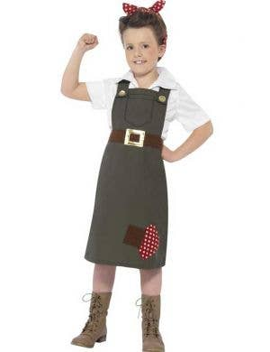 Girl's WWII Army Worker Costume Front View