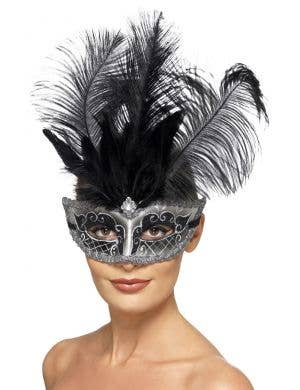Extravagant Feather Silver and Black Glitter Masquerade Mask