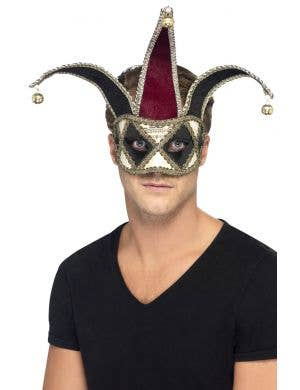 Red and Black Harlequin Jester Masquerade Mask Main Image