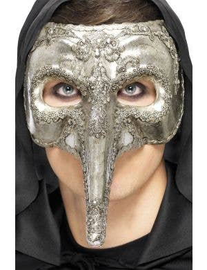 Long Nose Silver Men's Venetian Masquerade Mask Front