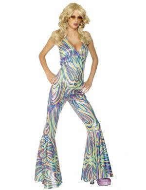 Metallic Women's Disco Jumpsuit Costume Front View