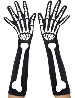 Long Black Skeleton Print Gloves