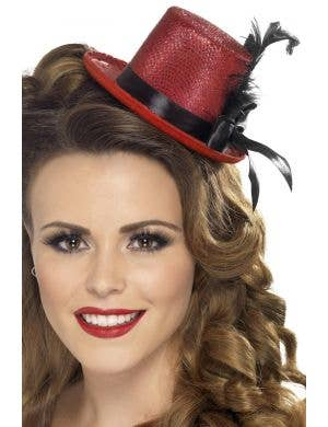 Mini Red and Black Top Hat Costume Accessory