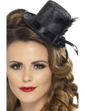 Burlesque Black Mini Glitter Top Hat