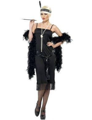 Women's Budget Great Gatsby Black Costume Dress Front View