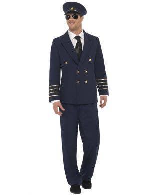 Navy Blue Men's Flight Pilot Fancy Dress Costume Front View