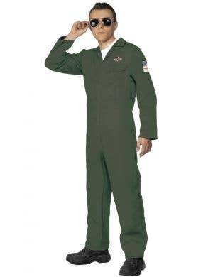 Men's Dark Green Aviator Top Gun Flight Suit Costume Image 1