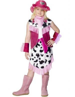 Girl's Pink Western Cowgirl Costume Dress Front View