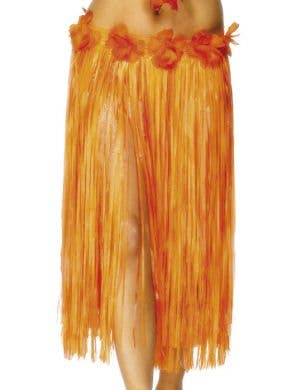 Hawaiian Hula Skirt in Red and Orange