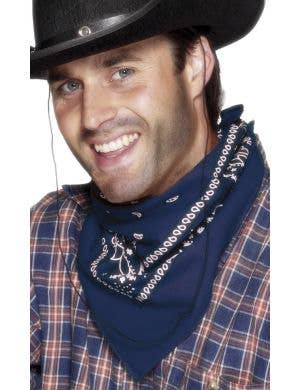 Wild West Navy Blue Bandanna Cowboy Costume Accessory Main Image