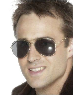Gold Aviator Sunglasses Costume Accessory