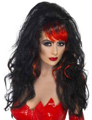 Seductress Black and Red Halloween Wig
