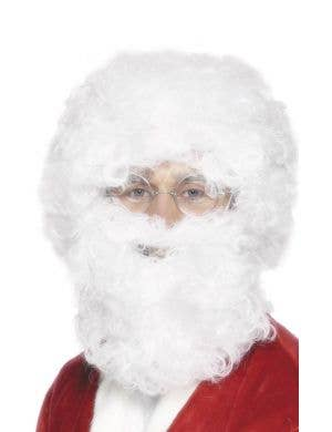 Father Christmas Men's White Costume Wig And Beard Set