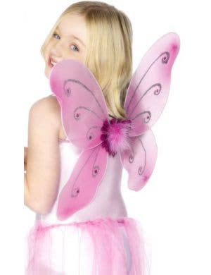 Glitter Butterfly Kids Pink Wings and Wand Set