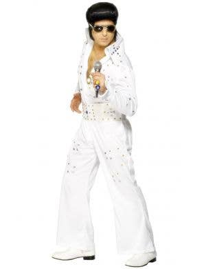 Men's White Official Elvis Presley White Jewelled Jumpsuit Fancy Dress Costume View 1