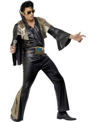 Elvis Presley Men's Black King Of Rock Costume Front