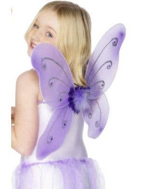 Glitter Butterfly Kids Purple Wings and Wand Set