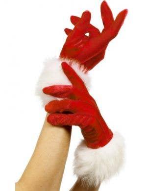 Red Velvet Women's Santa Gloves