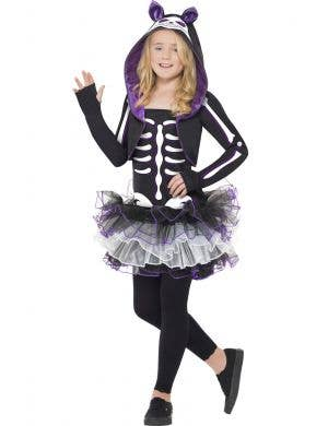 Cat Skeleton Girl's Animal Tutu Halloween Costume Front View