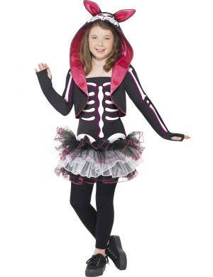 Girl's Skeleton Rabbit Animal Halloween Tutu Costume Front