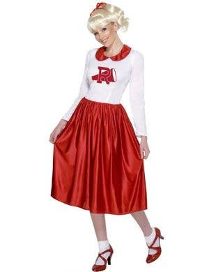 Women's Sandy Long Red Retro Cheerleader Costume Front View