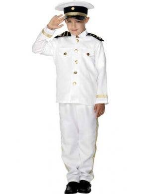 Boy's White Navy Officer Uniform Costume Front View