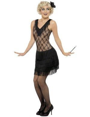 1920's Women's Black Mesh and Fringe Flapper Costume Front