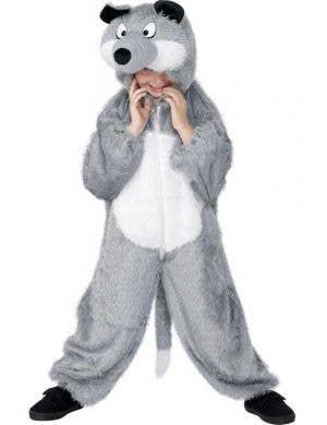 Grey Wolf Kid's Onesie Costume Front View