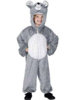 Kid's Grey Mouse Animal Onesie Book Week Costume Front