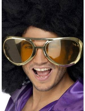 Oversized Gold Rock Glasses Costume Accessory