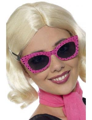1950's Retro Cat Eye Hot Pink Polka Dot Costume Sunglasses