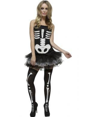 Sexy Skeleton Tutu Dress Women's Halloween Costume Front Image