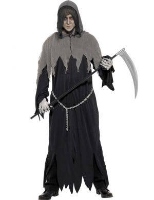 Men's Grim Reaper Halloween Fancy Dress Costume Front