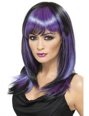 Glamour Purple and Black Witch Costume Wig