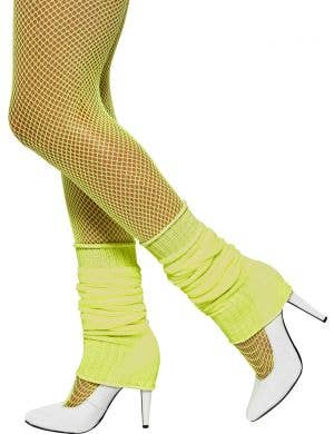 Women's 1980's Neon Yellow Costume Leg Warmers