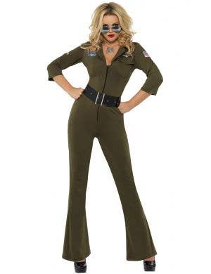 Women's Top Gun Aviator Flightsuit Costume Front View