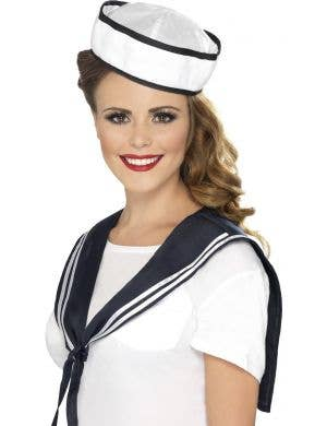 Navy sailor women's hat and bib costume set