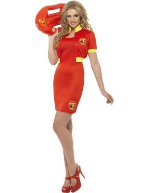 Women's Baywatch Red Fancy Dress Costume Front View