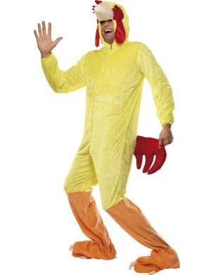 Adults Yellow Chicken Onesie Costume Front View