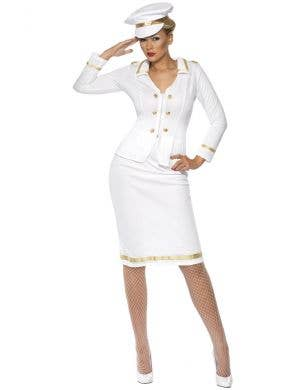 White Navy Officer Women's Costume Front View