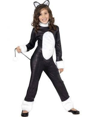 Black Cat Girl's Black and White Animal Costume Front