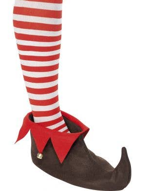 Brown and Red Elf Costume Shoes with Bells View 1